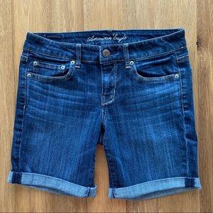 "Size 10 AE mid-rise 7"" inseam cuffed denim shorts"